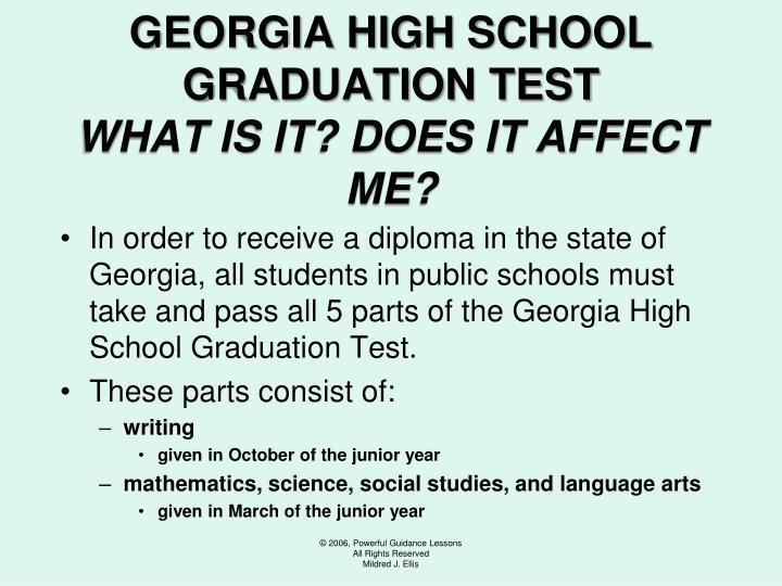 GEORGIA HIGH SCHOOL GRADUATION TEST