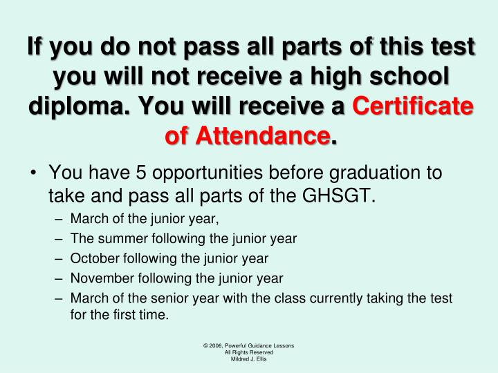 If you do not pass all parts of this test you will not receive a high school diploma. You will receive a
