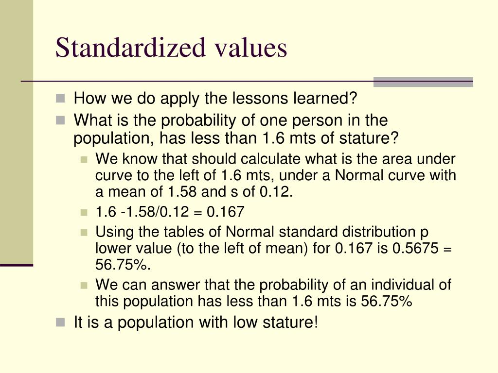 Standardized values