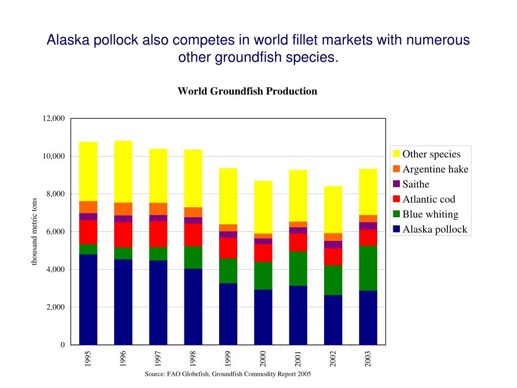 Alaska pollock also competes in world fillet markets with numerous other groundfish species.