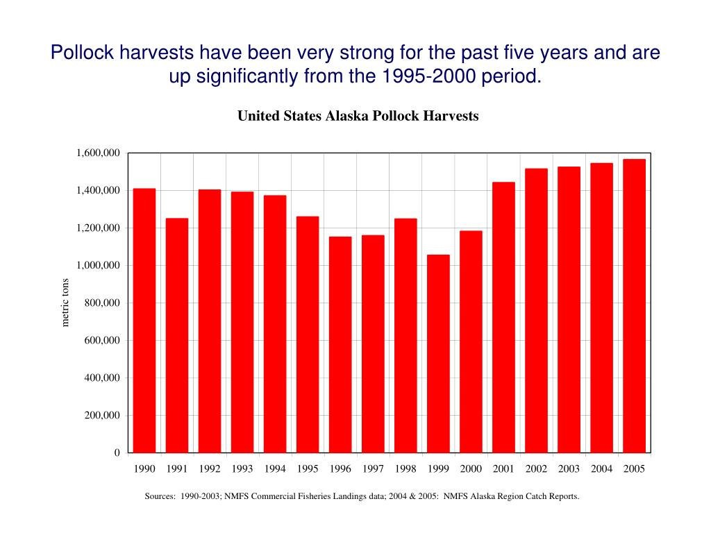 Pollock harvests have been very strong for the past five years and are up significantly from the 1995-2000 period.