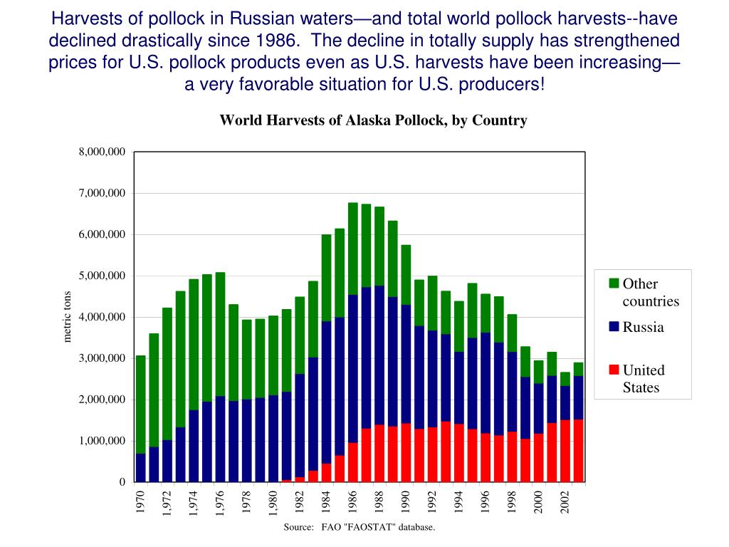 Harvests of pollock in Russian waters—and total world pollock harvests--have declined drastically since 1986.  The decline in totally supply has strengthened prices for U.S. pollock products even as U.S. harvests have been increasing—a very favorable situation for U.S. producers!