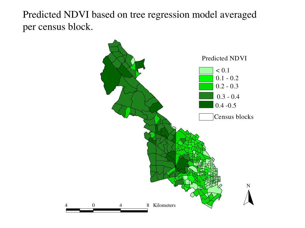 Predicted NDVI based on tree regression model averaged