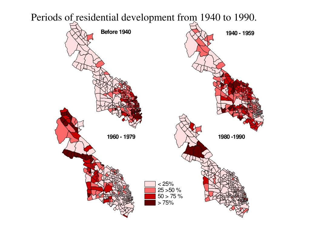 Periods of residential development from 1940 to 1990.