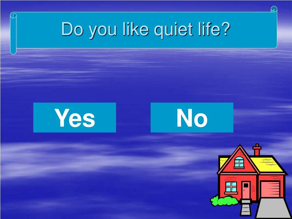 Do you like quiet life?