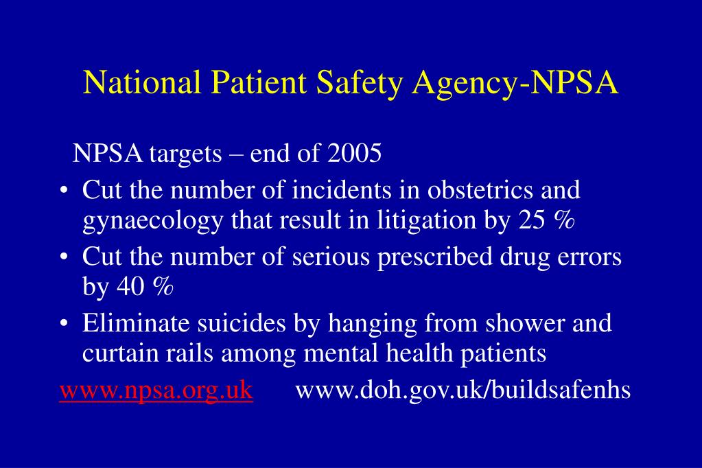 National Patient Safety Agency-NPSA