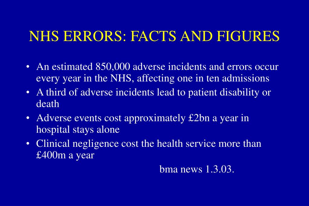 NHS ERRORS: FACTS AND FIGURES