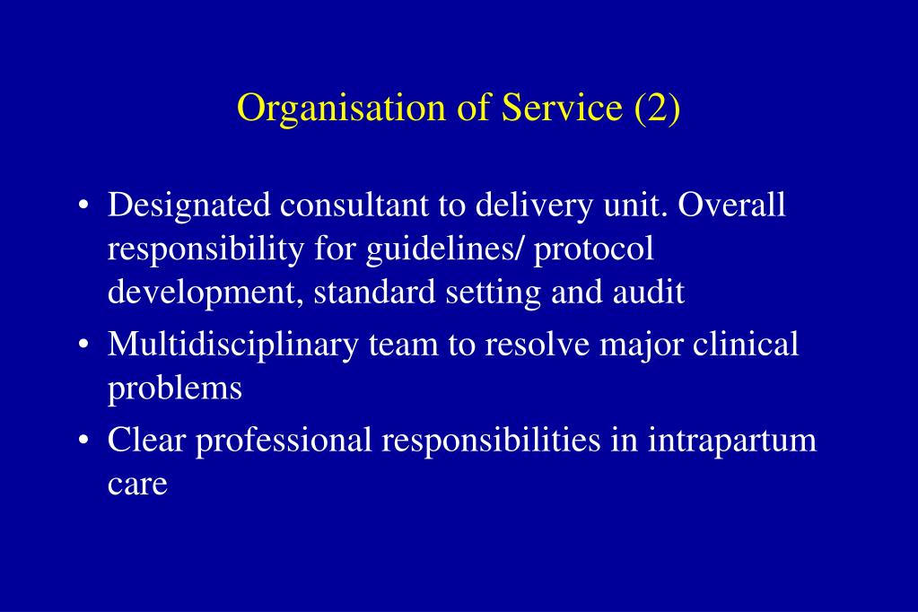 Organisation of Service (2)