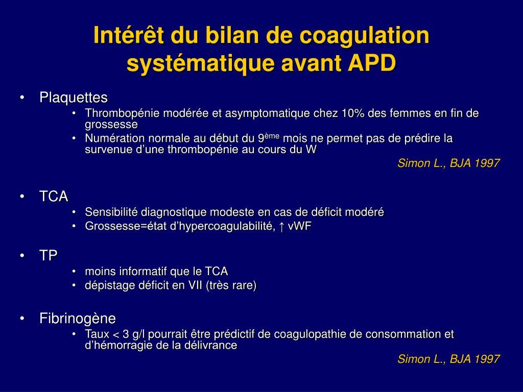 Intérêt du bilan de coagulation systématique avant APD