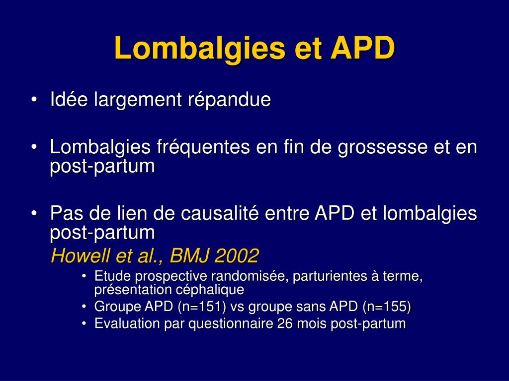Lombalgies et APD