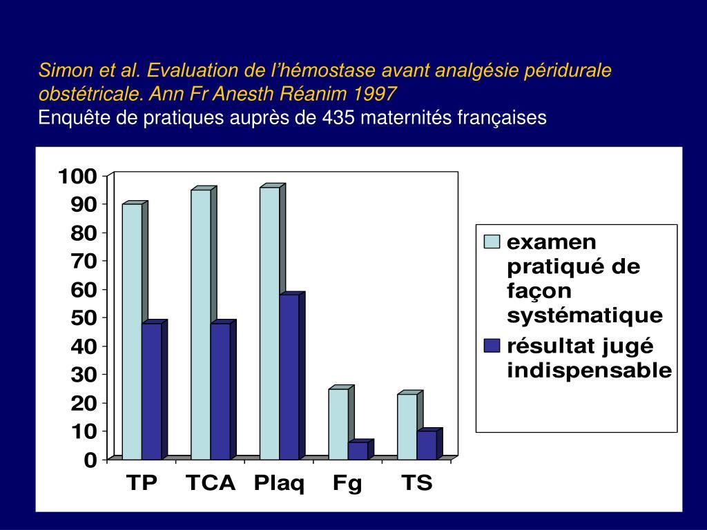 Simon et al. Evaluation de l'hémostase avant analgésie péridurale obstétricale. Ann Fr Anesth Réanim 1997