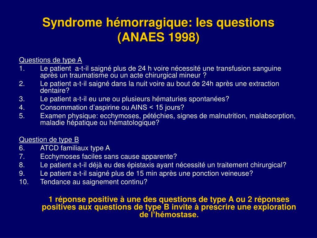 Syndrome hémorragique: les questions (ANAES 1998)