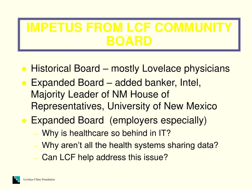 IMPETUS FROM LCF COMMUNITY BOARD