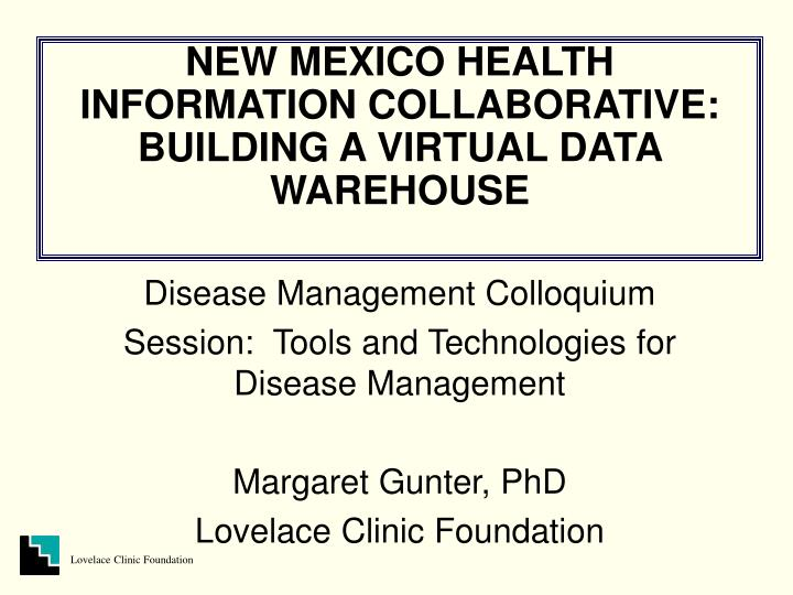New mexico health information collaborative building a virtual data warehouse