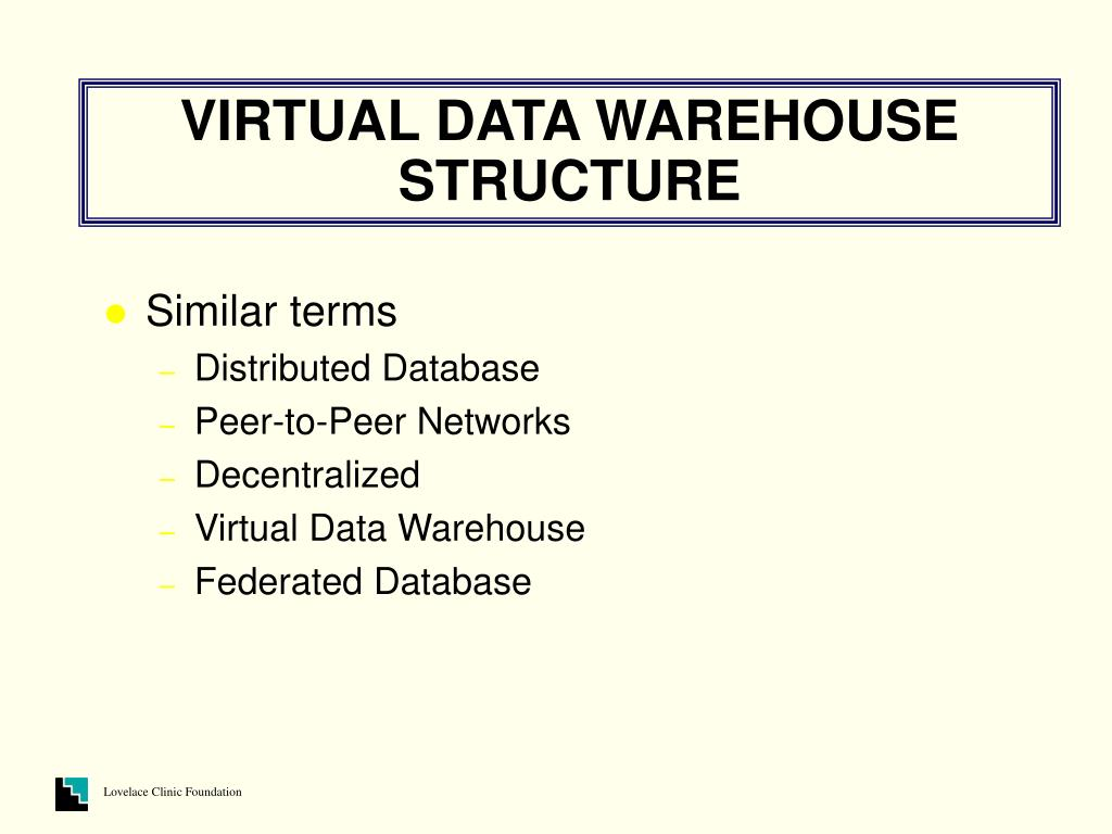 VIRTUAL DATA WAREHOUSE STRUCTURE