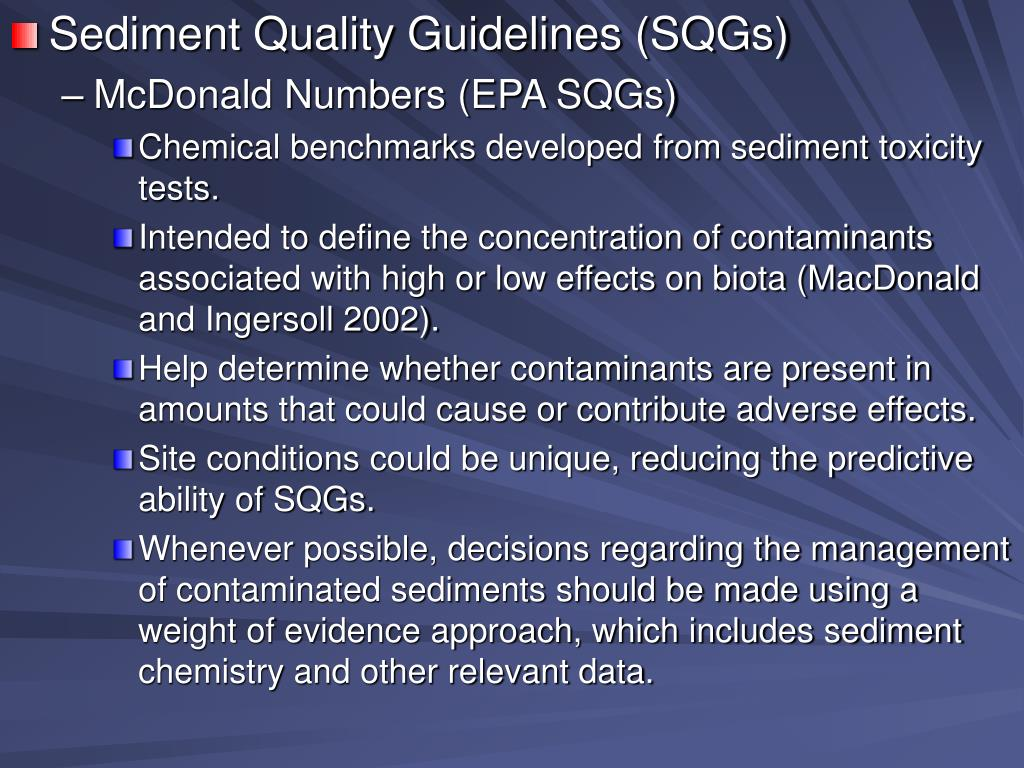 Sediment Quality Guidelines (SQGs)