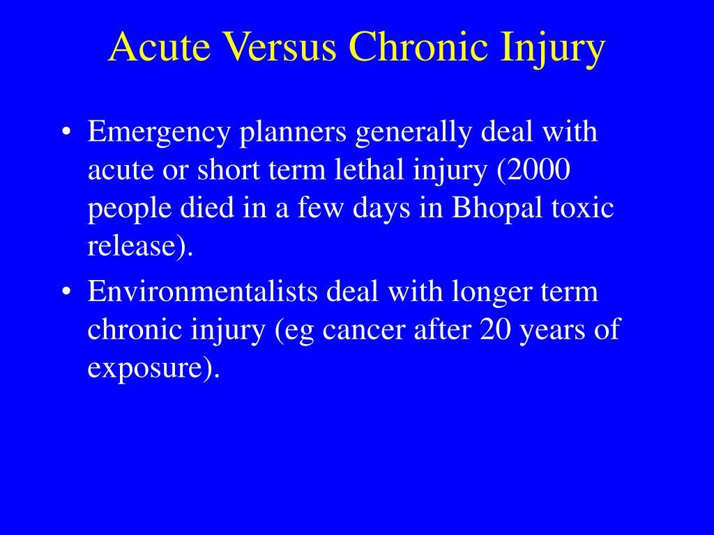 Acute Versus Chronic Injury