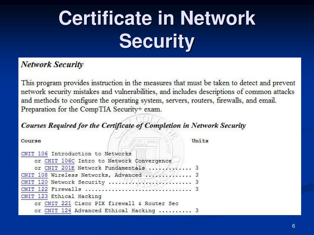 Certificate in Network Security