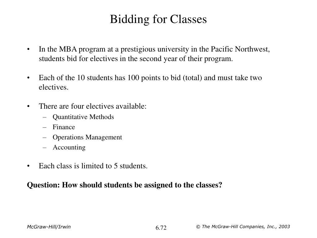 Bidding for Classes