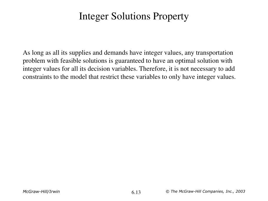 Integer Solutions Property