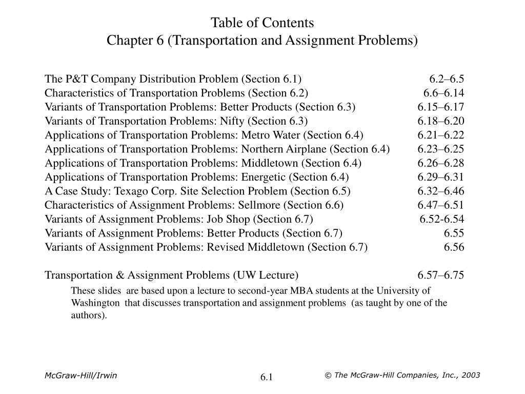 The P&T Company Distribution Problem (Section 6.1)6.2–6.5