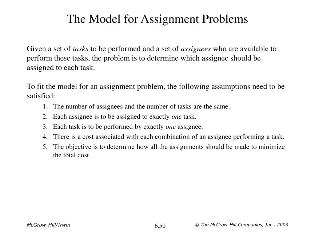 The Model for Assignment Problems