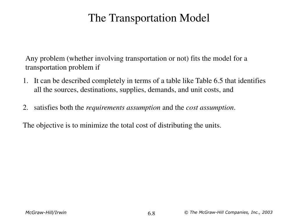 The Transportation Model