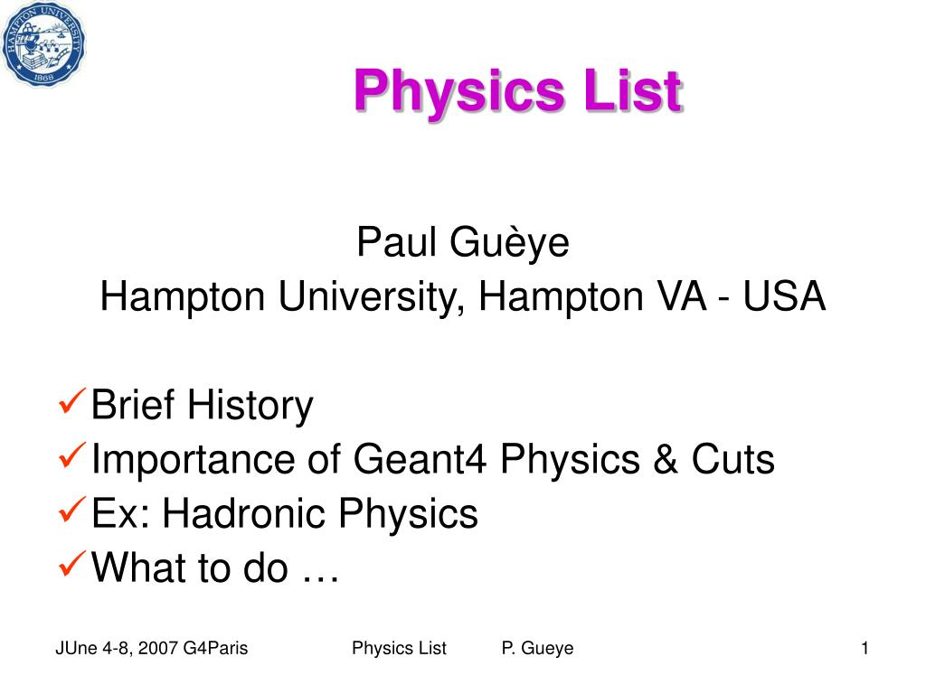 Physics List