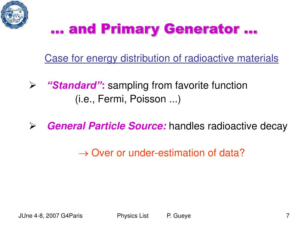 … and Primary Generator …