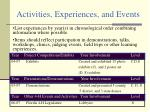 activities experiences and events