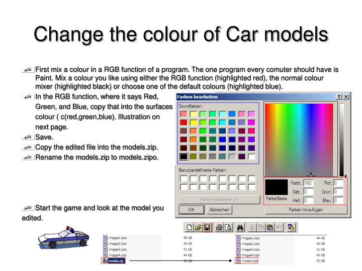 Change the colour of Car models