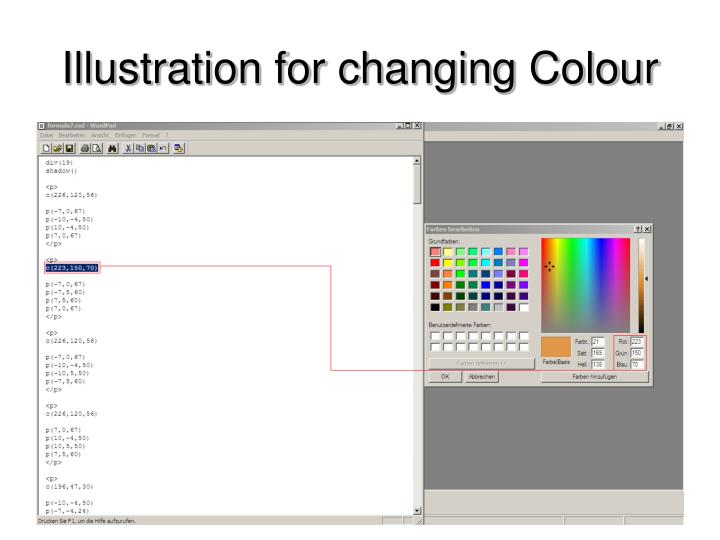 Illustration for changing Colour
