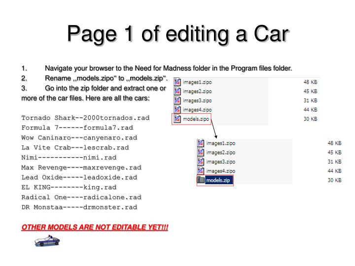 Page 1 of editing a Car