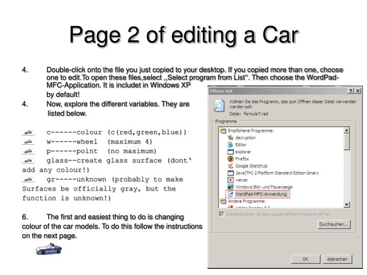 Page 2 of editing a Car