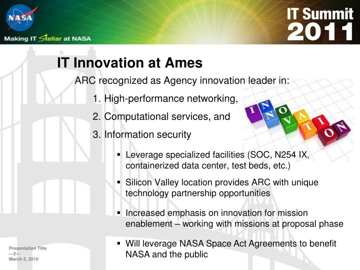 It innovation at ames