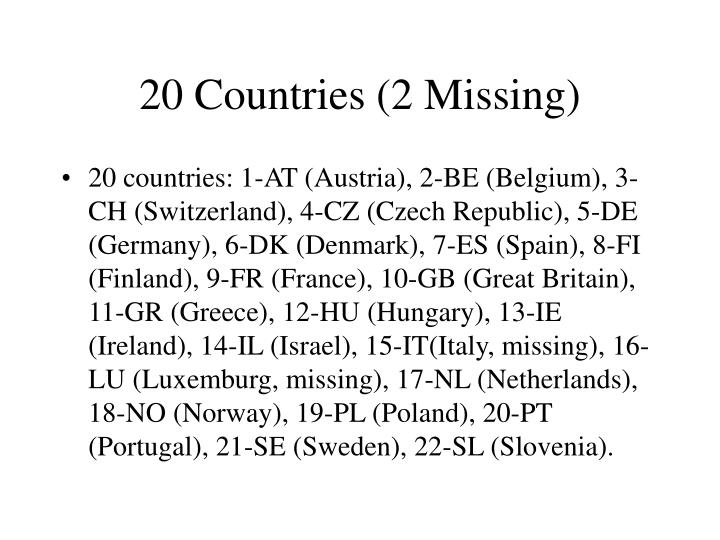 20 Countries (2 Missing)