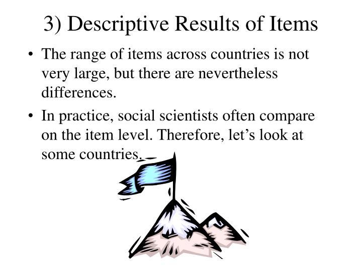 3) Descriptive Results of Items