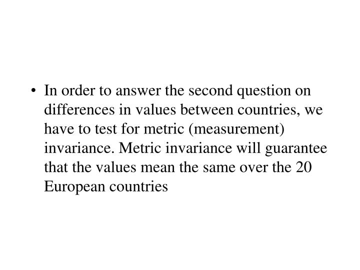 In order to answer the second question on differences in values between countries, we have to test for metric (measurement) invariance. Metric invariance will guarantee that the values mean the same over the 20 European countries