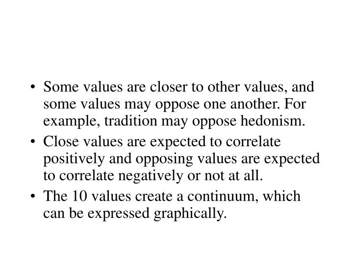 Some values are closer to other values, and some values may oppose one another. For example, tradition may oppose hedonism.