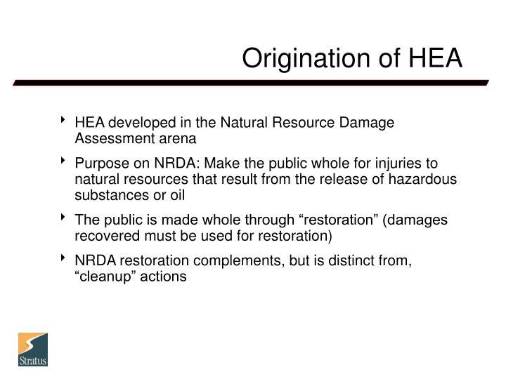 Origination of hea