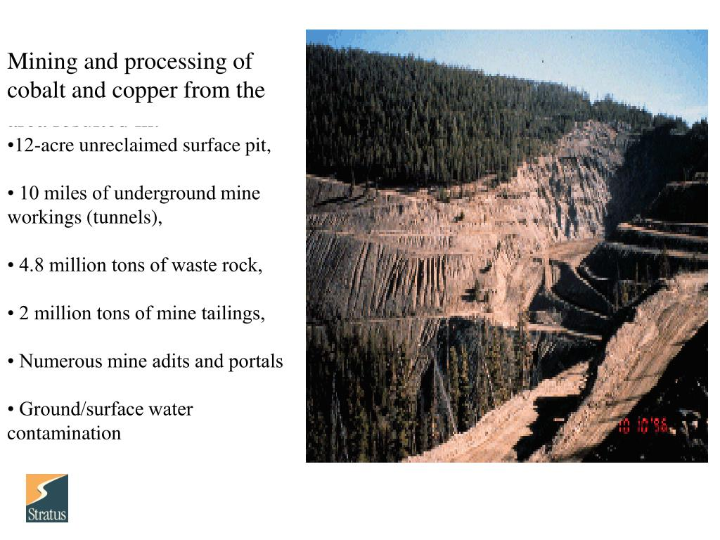Mining and processing of cobalt and copper from the area resulted in: