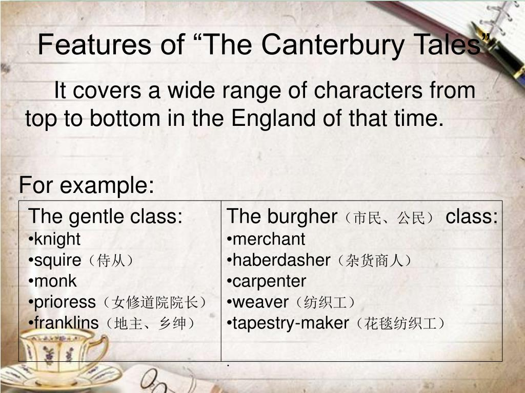 """Features of """"The Canterbury Tales"""""""
