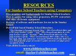 resources for sunday school teachers using computers