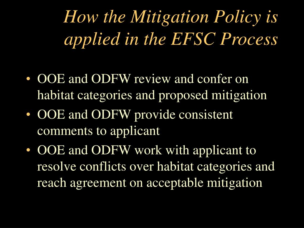 How the Mitigation Policy is applied in the EFSC Process