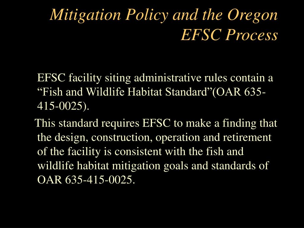 Mitigation Policy and the Oregon EFSC Process