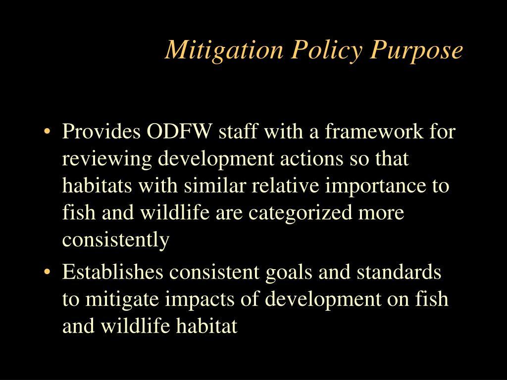Mitigation Policy Purpose