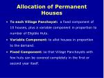 allocation of permanent houses
