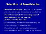 selection of beneficiaries