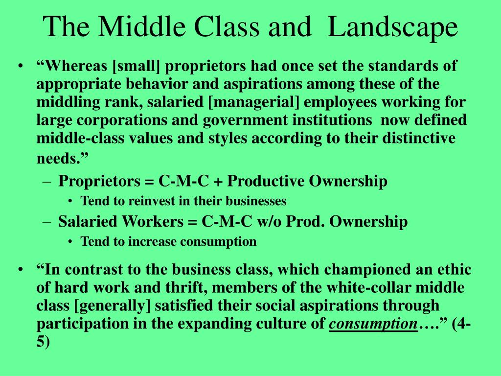 The Middle Class and  Landscape