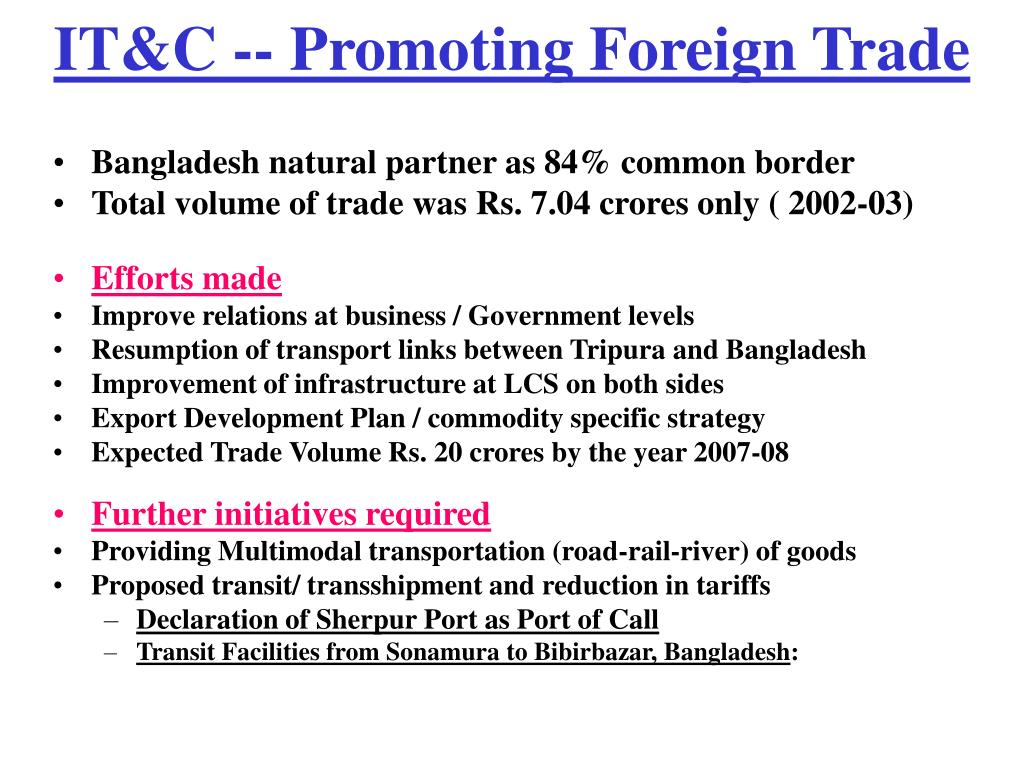 IT&C -- Promoting Foreign Trade